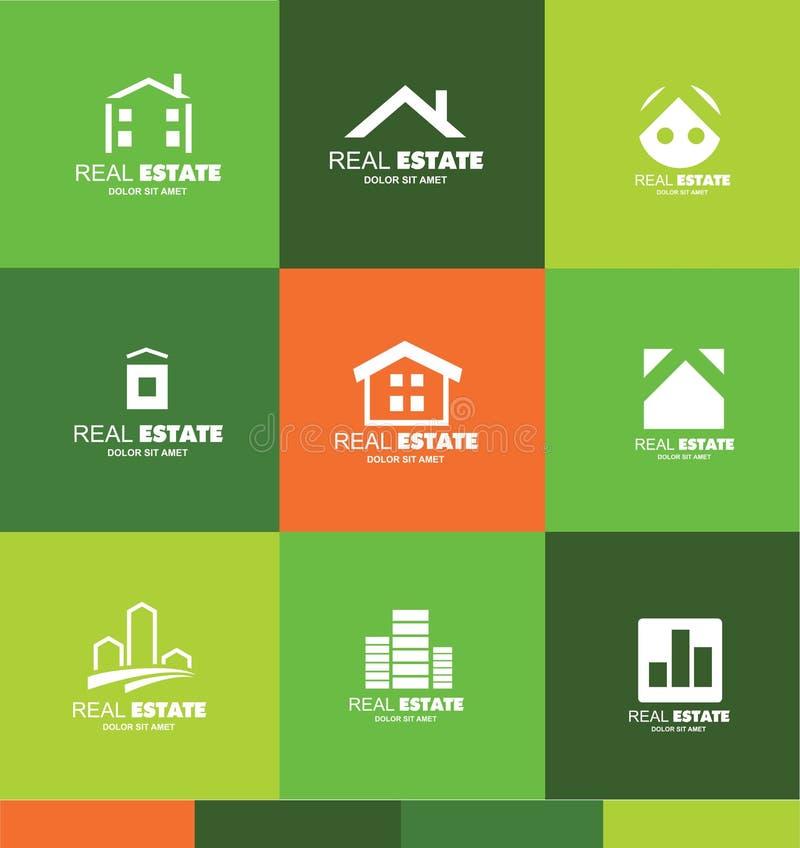 Conception réglée d'icône d'appartement de logo d'immobiliers illustration de vecteur