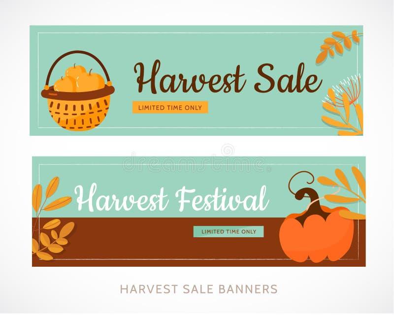 Conception réglée de bannière de festival de récolte avec le potiron et les feuilles Promotion d'illustration de vecteur illustration de vecteur