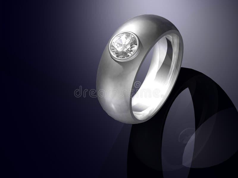 Conception réglée de boucle de platine de diamant brillant de coupure illustration de vecteur