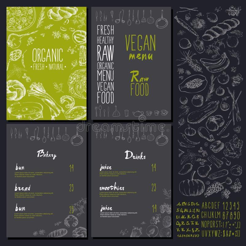 Conception réglée de vintage de vegan de restaurant de menu naturel organique de nourriture avec le tableau illustration libre de droits
