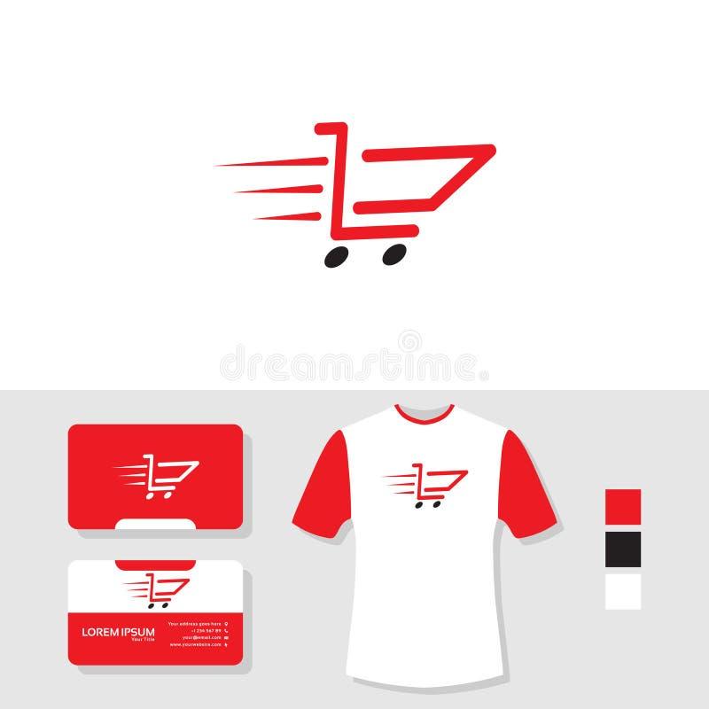 Conception rapide de logo de chariot avec la carte de visite professionnelle de visite et la maquette de T-shirt illustration stock