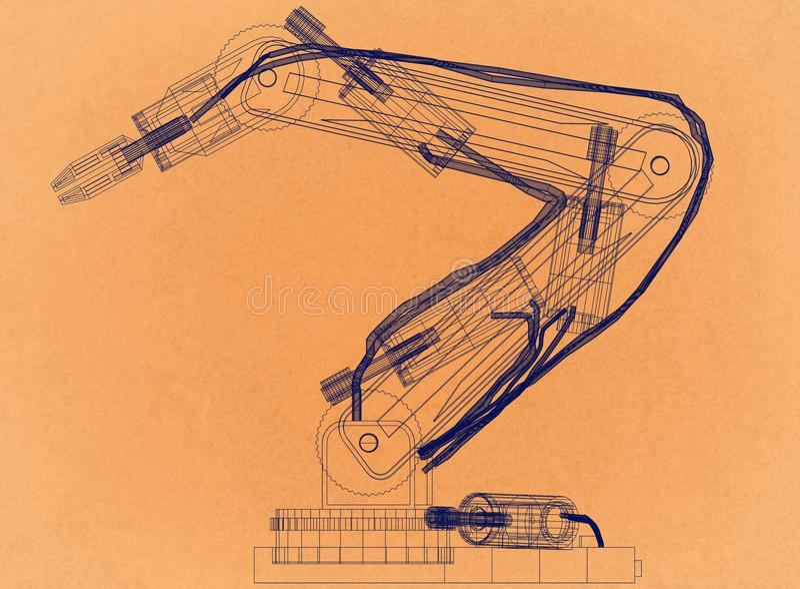 Conception robotique de bras - rétro architecte Blueprint illustration stock