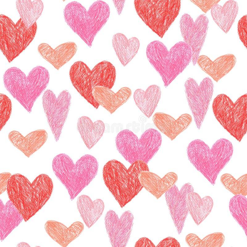 Conception romantique colorée de coeur de modèle sans couture de crayon pour le jour de valentine, fond d'illustration illustration libre de droits