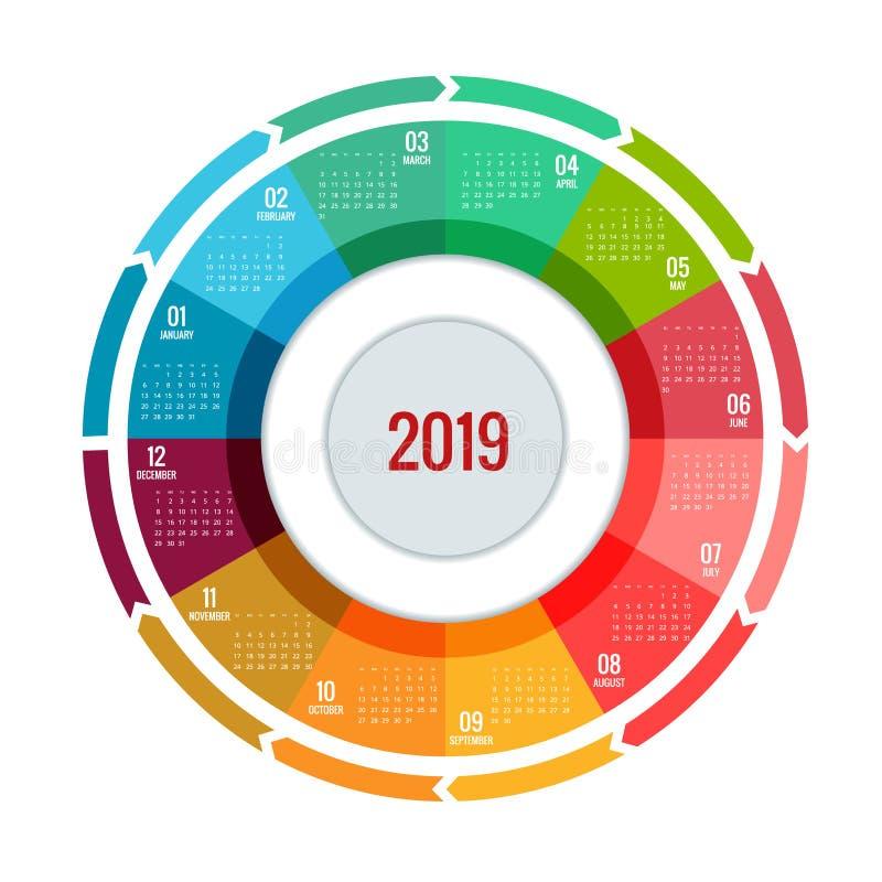 Conception ronde colorée du calendrier 2019, calibre d'impression, votre logo et texte La semaine commence dimanche Orientation d illustration stock