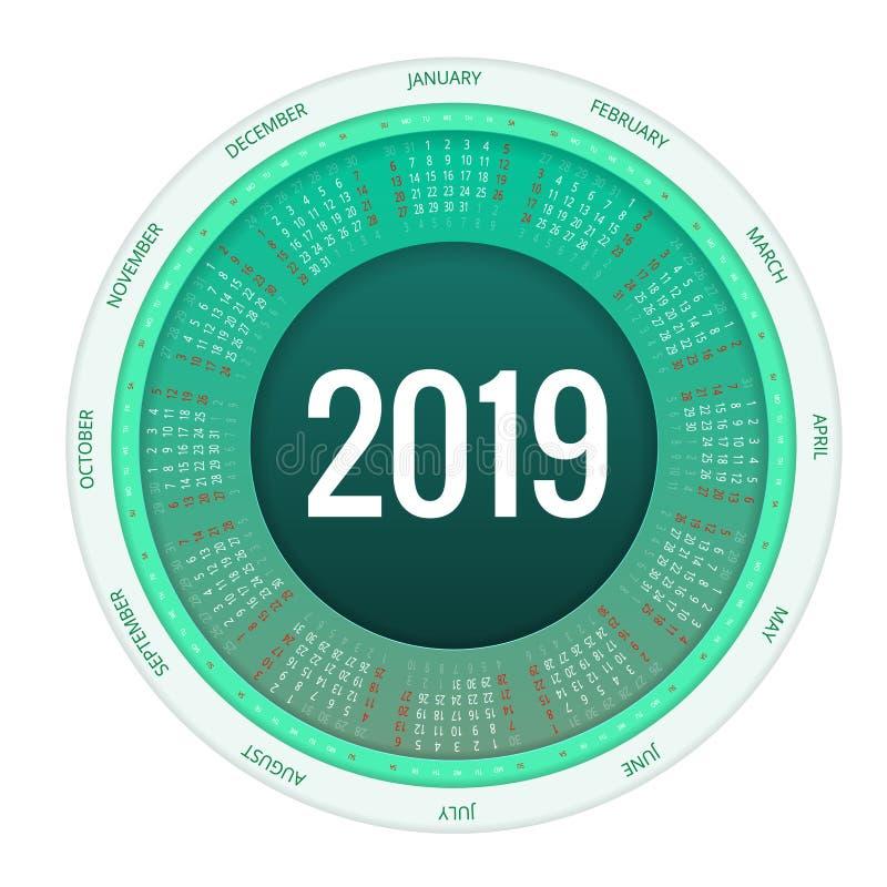 Conception ronde colorée du calendrier 2019, calibre d'impression, votre logo et texte La semaine commence dimanche Orientation d illustration libre de droits