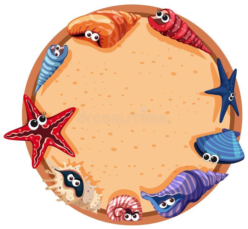 Conception ronde de cadre avec des coquillages et des étoiles de mer illustration libre de droits
