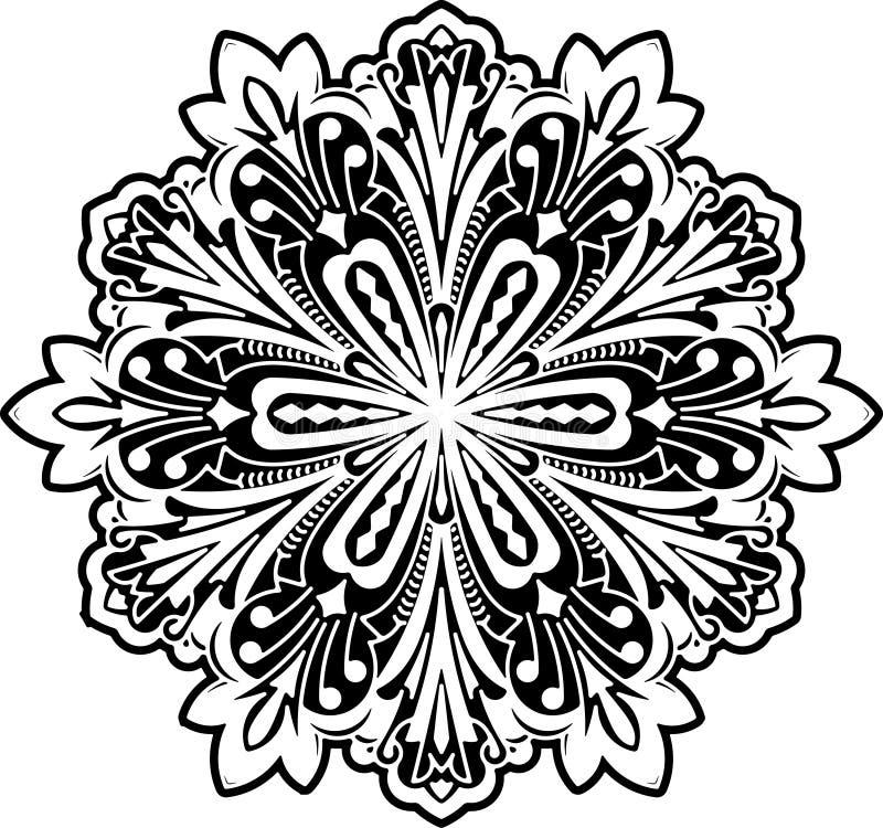 Conception ronde de dentelle de noir abstrait de vecteur - mandala, décorums ethniques illustration de vecteur