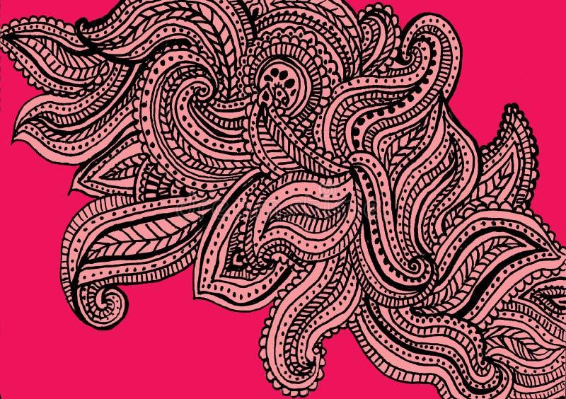 Conception rose de fond de modèle de Paisley illustration libre de droits