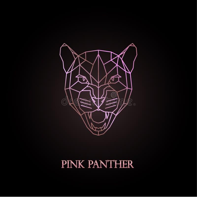 Conception rose de logo de panthère illustration stock