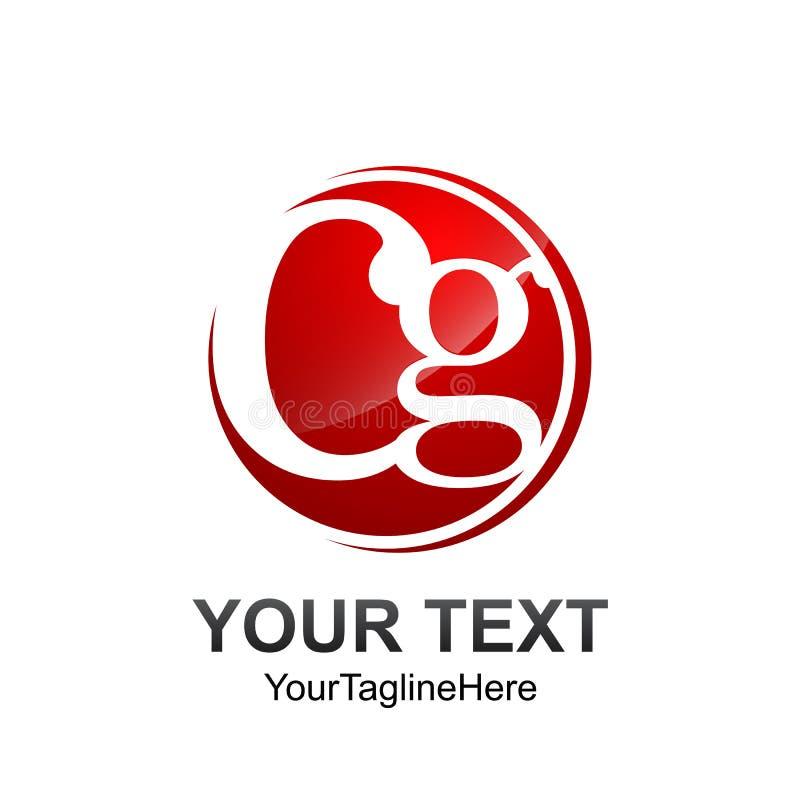 Conception rouge de cercle colorée par calibre de logo de la lettre initiale CG. pour des Bu illustration de vecteur