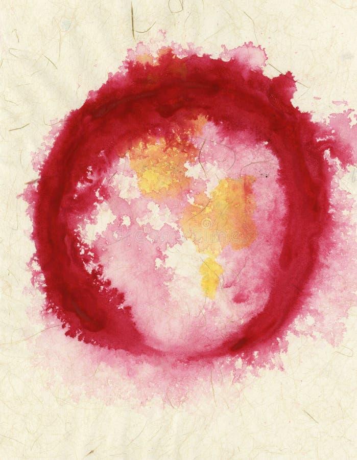 Conception rouge de cercle sur la peinture abstraite de textures beiges illustration de vecteur