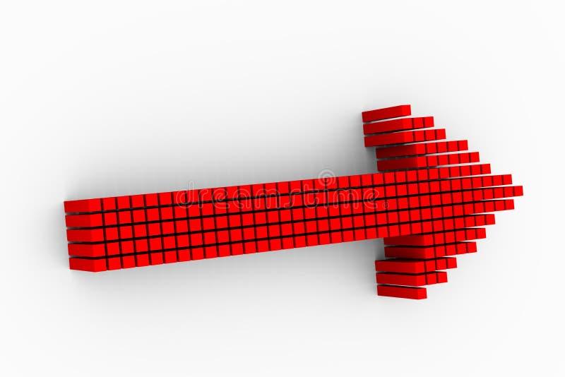 conception rouge de flèche de matrice des cubes 3d illustration de vecteur