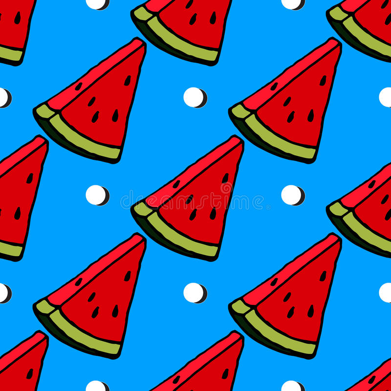 Conception rouge mignonne de tranche de pastèque sur le fond bleu rayé, sans couture, modèle, papier peint illustration libre de droits