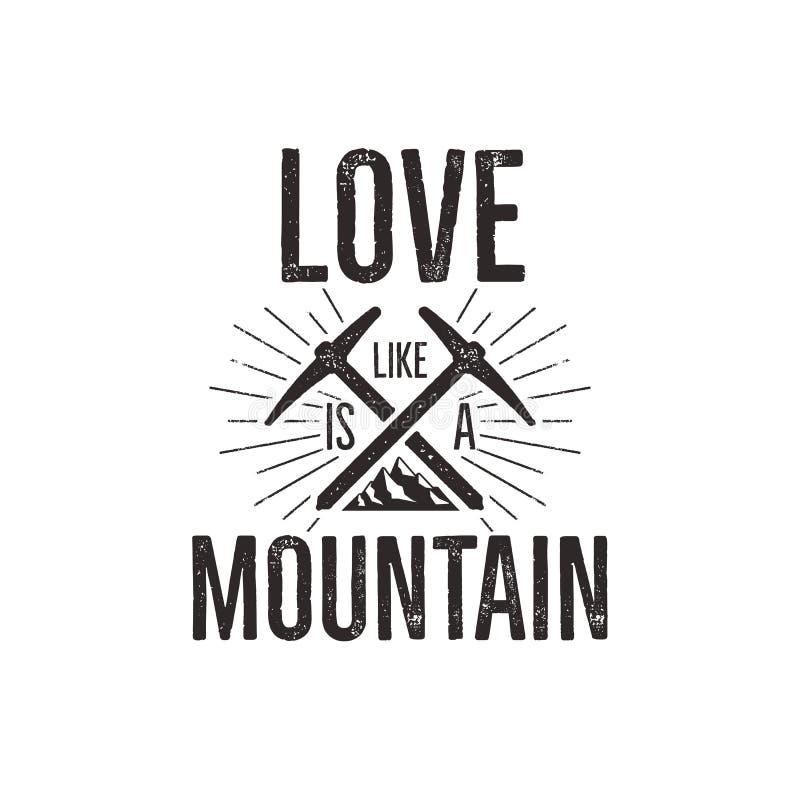 Conception s'élevante tirée par la main de tee-shirt de label de vintage Insigne de voyage avec la montagne, vitesse de montée et illustration stock