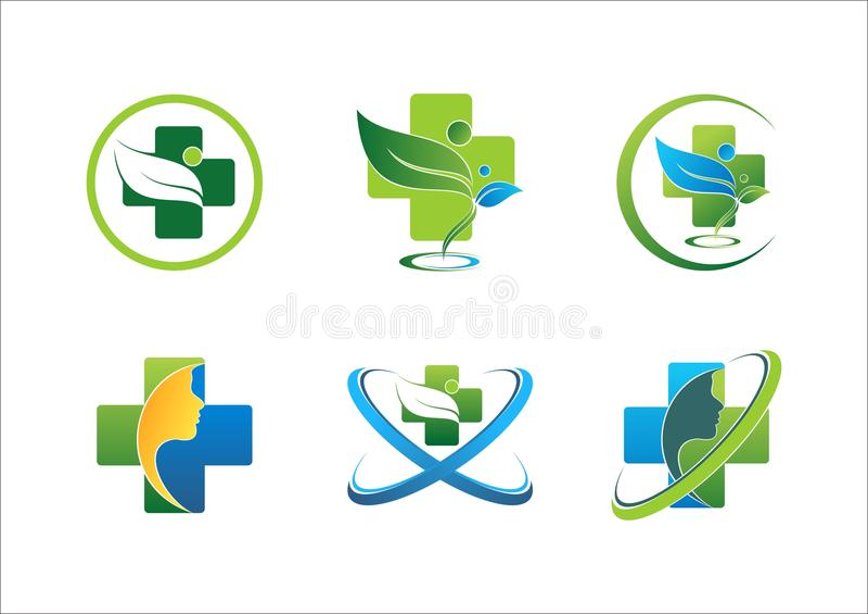 Conception saine de vecteur d'ensemble de symbole de santé de logo de bien-être de personnes de feuille pharmaceutique médicale d illustration stock