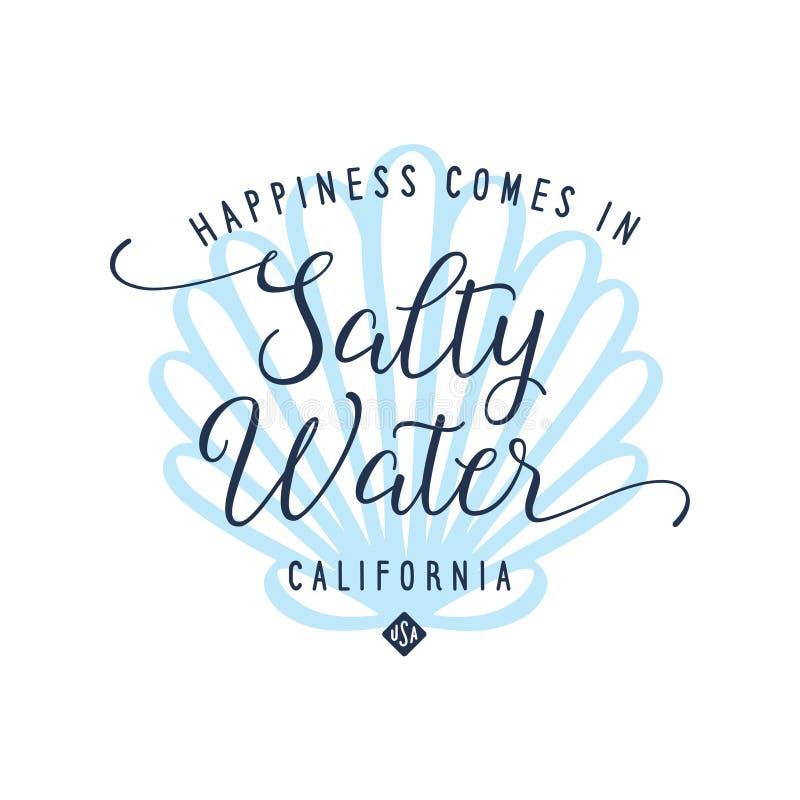 Conception salée de T-shirt de calligraphie de l'eau avec le fond de coquille Illustration de vecteur illustration libre de droits