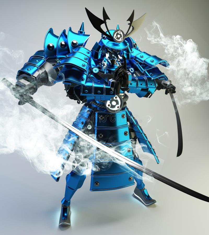 Conception samouraï de guerrier de robot rendu 3d illustration stock