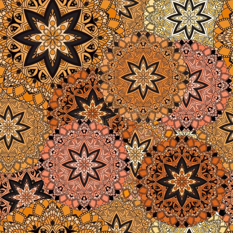 Conception sans couture d'or dans le style oriental Fond stellaire de mandalas pour la carte, l'avant-side, la couverture ou le p illustration de vecteur