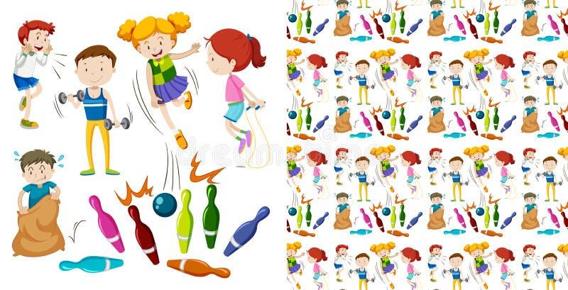 Conception sans couture de fond avec des enfants faisant des sports illustration stock