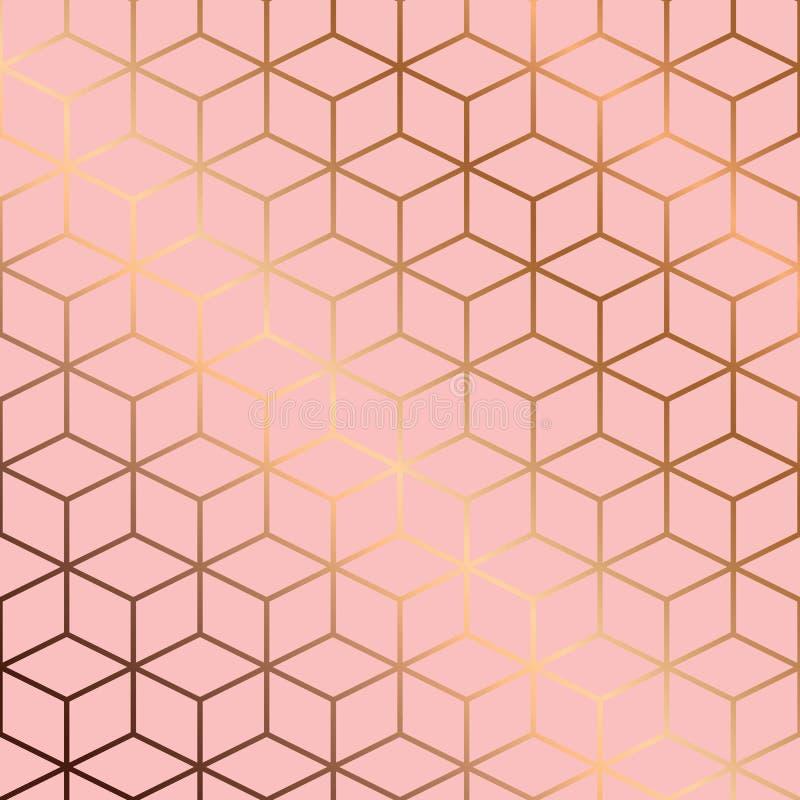 Conception sans couture de modèle avec les lignes et les cubes géométriques d'or sur le fond rose illustration stock