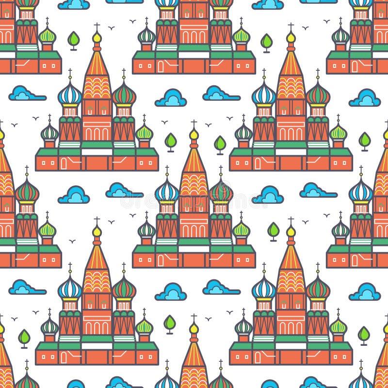 Conception sans couture de modèle de cathedrale célèbre de Moscou illustration libre de droits