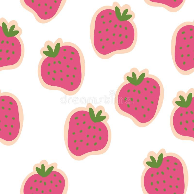 Conception sans couture de modèle de congé vert de fraises de rose de vecteur illustration de vecteur