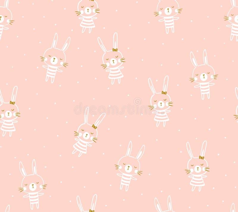 Conception sans couture de modèle de vecteur de Pâques avec des lapins illustration stock