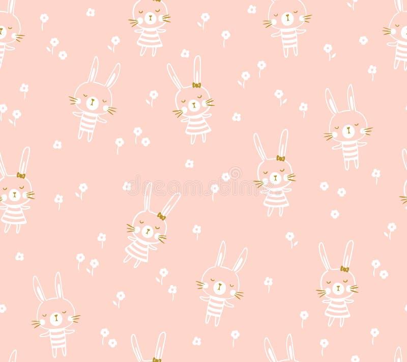 Conception sans couture de modèle de vecteur de Pâques avec des lapins Copie légère de bébé pour le tissu d'enfant ou le papier d illustration de vecteur