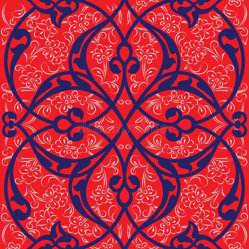 Conception sans couture de modèle de tuile d'Iznik, St turc classique d'Ottoman illustration stock