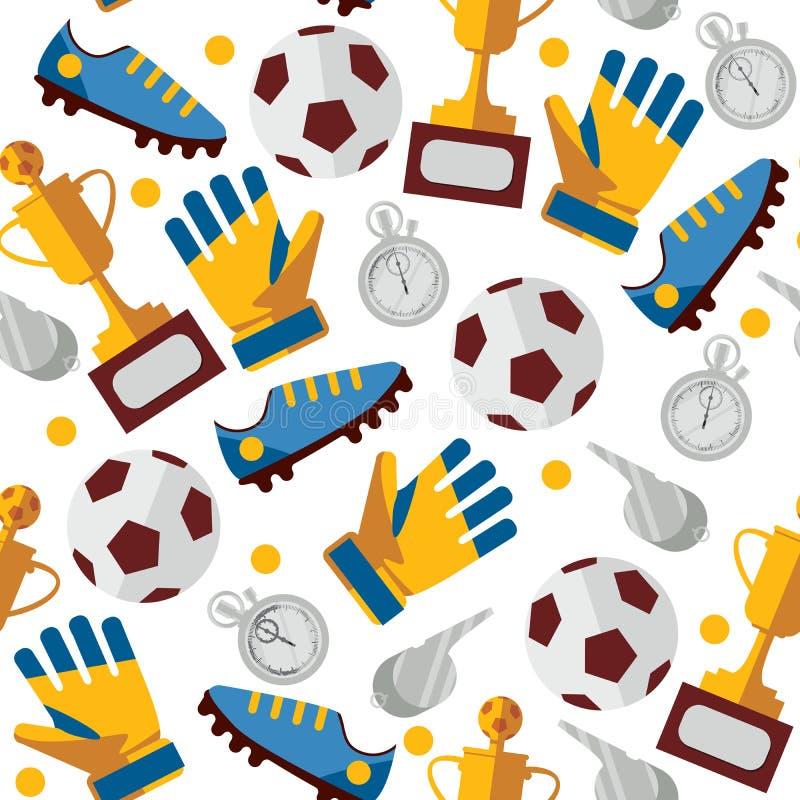Conception sans couture de modèle de vecteur avec des vêtements, des bottes, la tasse et le chronomètre de joueur de football du  illustration de vecteur