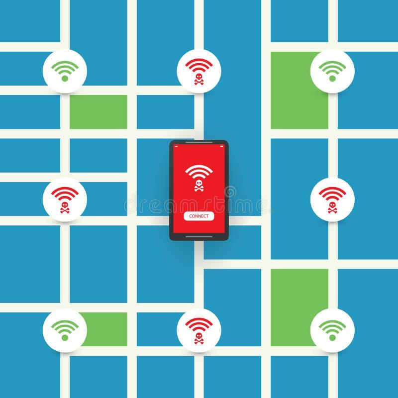 Conception sans fil publique sans garantie de points névralgiques avec le plan de ville - violations de la sécurité de Wifi, conc illustration stock
