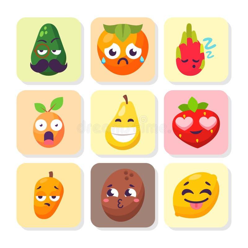 Conception savoureuse de nourriture de caractères de fruit d'émotions de bande dessinée de vecteur de sourire de nature de mascot illustration stock