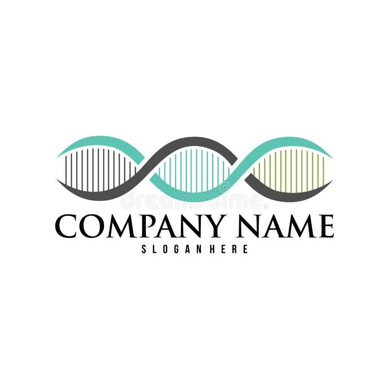 Conception scientifique de logo de vecteur de laboratoire d'hélice d'ADN illustration stock