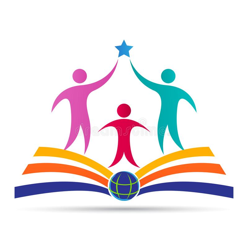 Conception scolaire de logo de succès d'université d'université d'école d'emblème d'éducation illustration libre de droits