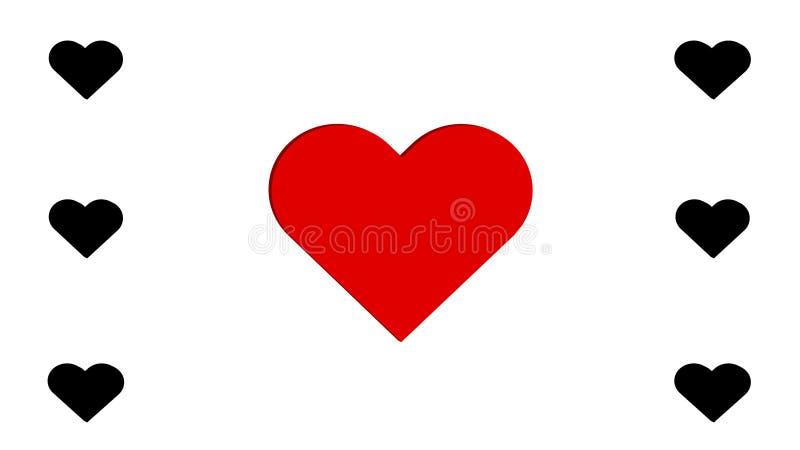 conception simple d'illustration de vecteur d'amour du noir 3D et du multiple sept rouges de coeurs de coeur illustration stock