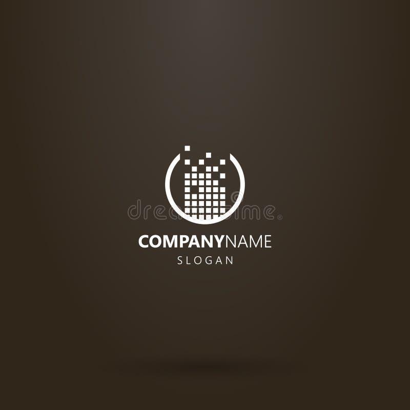 Conception simple de logo de vecteur ?tablie d'un ensemble de places dans un cadre rond illustration de vecteur