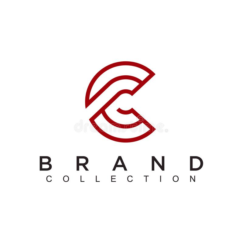 Conception simple de technologie de logo de technologie Cercle abstrait créatif de vecteur autour d'icône moderne de forme rouge  illustration stock