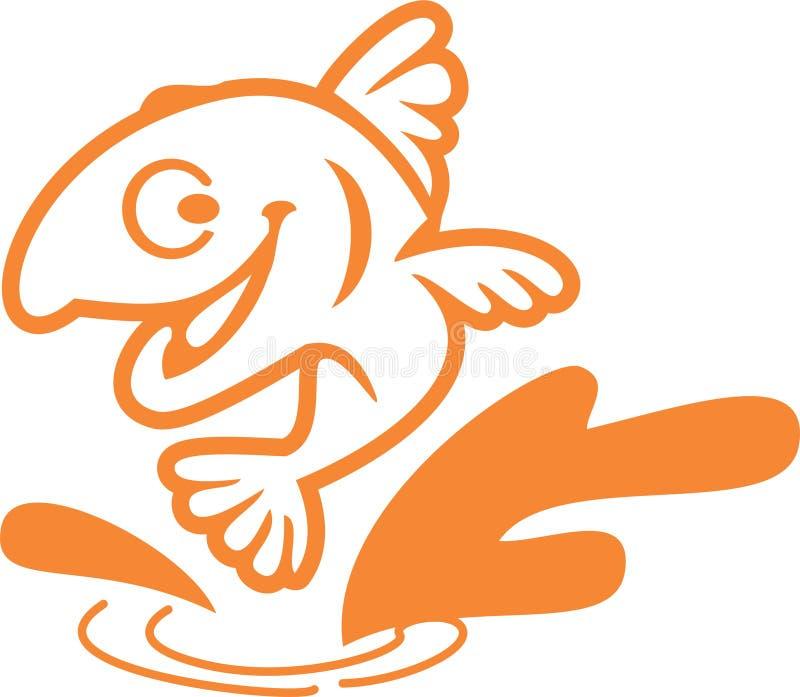 Conception simple Logo Vector de personnage de dessin animé de poissons illustration libre de droits