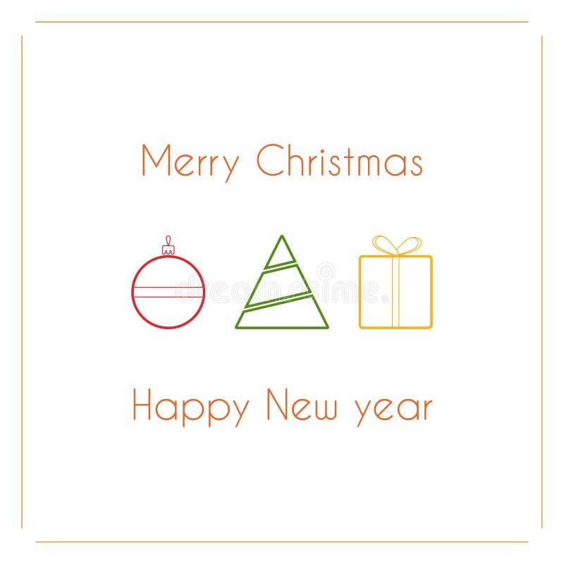 Conception simple moderne de vecteur de carte de Noël avec le jouet de boule, l'arbre de Noël et le cadeau illustration stock