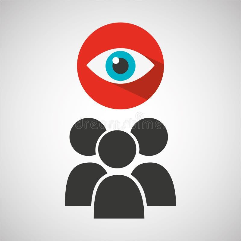 Conception sociale de surveillance de groupe de media illustration libre de droits