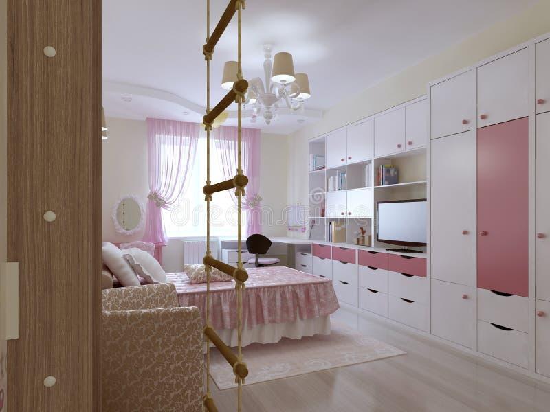 Download conception spacieuse de chambre à coucher dadolescent illustration stock illustration du rideaux