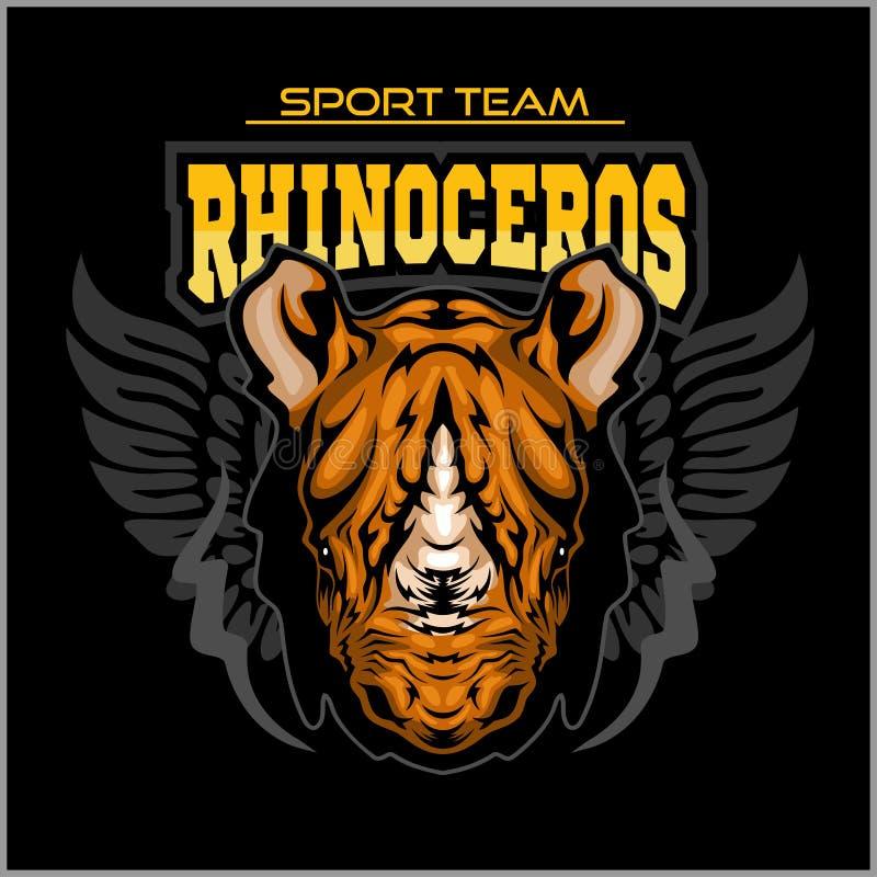 Conception sportive de rhinocéros complète avec l'illustration de vecteur de mascotte de rhinocéros illustration libre de droits