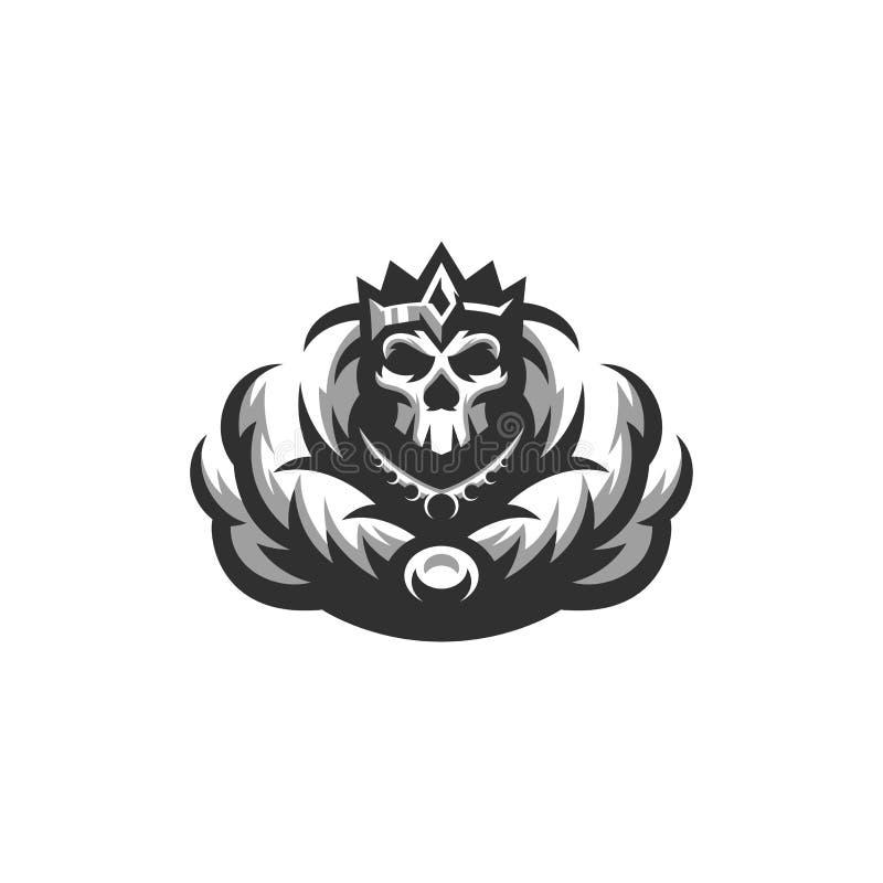 Conception squelettique impressionnante de logo de roi illustration de vecteur