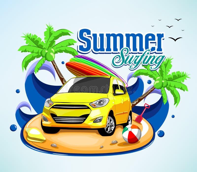 Conception surfante d'affiche d'aventure d'été avec la voiture et la planche de surf illustration de vecteur