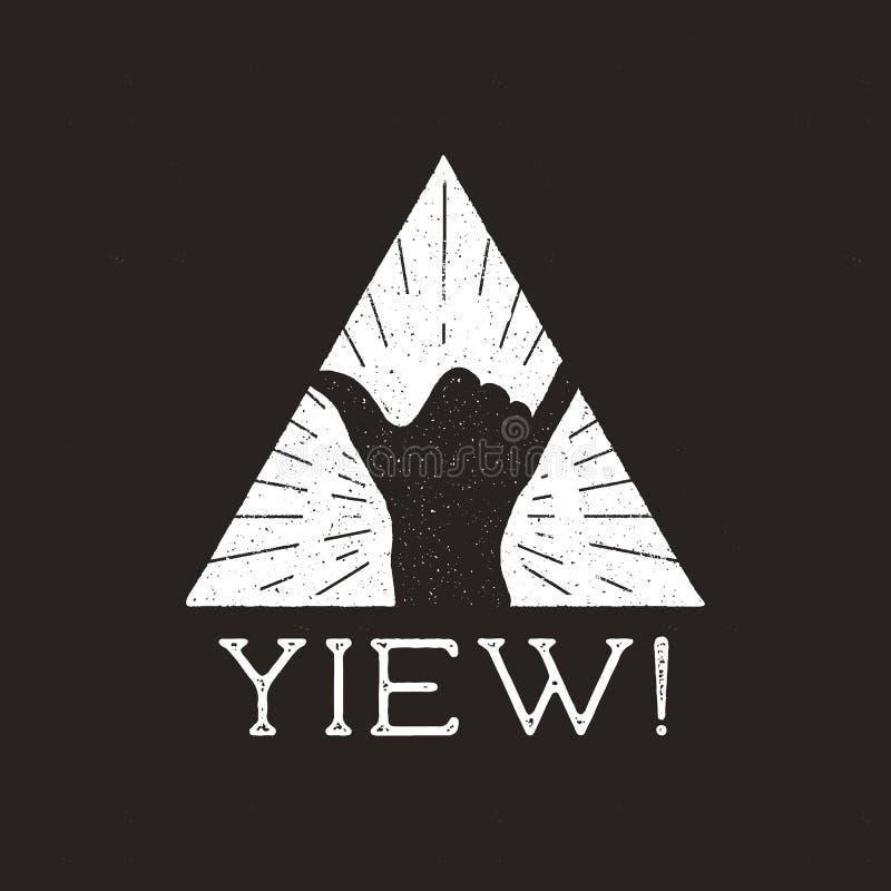 Conception surfante d'impression d'insigne des éléments de typographie avec de shaka de main signe et de signe de Yiew Rétro affi illustration stock
