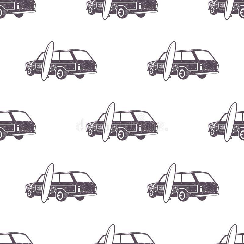 Conception surfante de modèle de voiture de style ancien Papier peint sans couture d'été avec le fourgon de surfer, planches de s illustration de vecteur