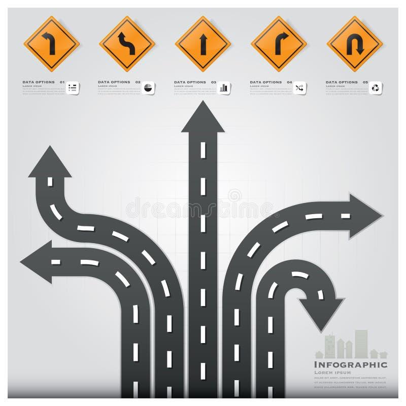 Conception Templat d'Infographic d'affaires de poteau de signalisation de route et de rue illustration libre de droits