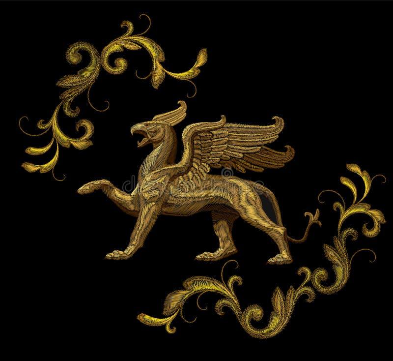 Conception texturisée d'or de correction de textile de griffon de broderie illustration de vecteur