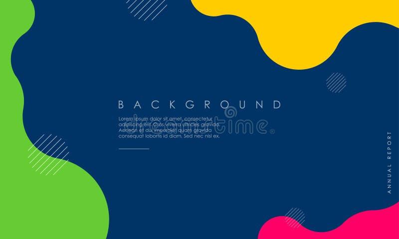 Conception texturisée dynamique de fond dans le style 3D avec bleu, jaune, rose, couleur verte illustration stock