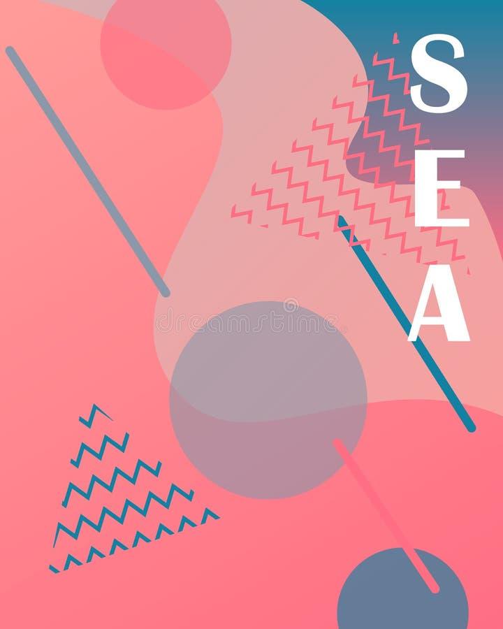 Conception texturisée dynamique de fond dans le style 3D Gradients liquides Affiche d'été pour la conception illustration stock